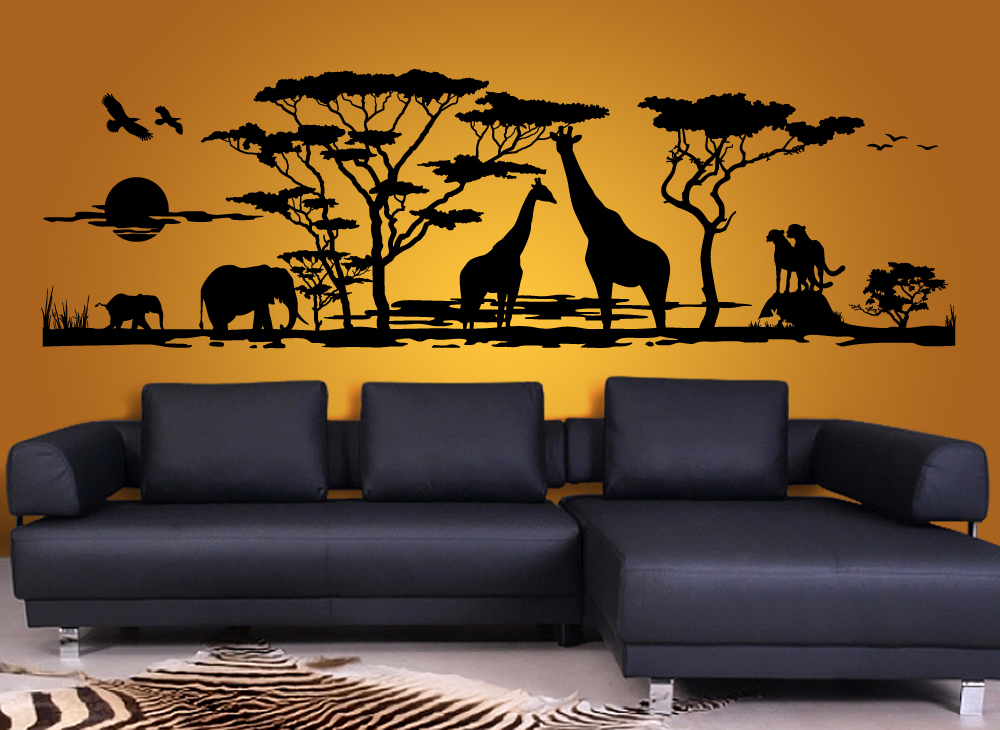 wandtattoo wohnzimmer 1043w afrika landschaft xxl wandtatoo wandsticker ebay. Black Bedroom Furniture Sets. Home Design Ideas