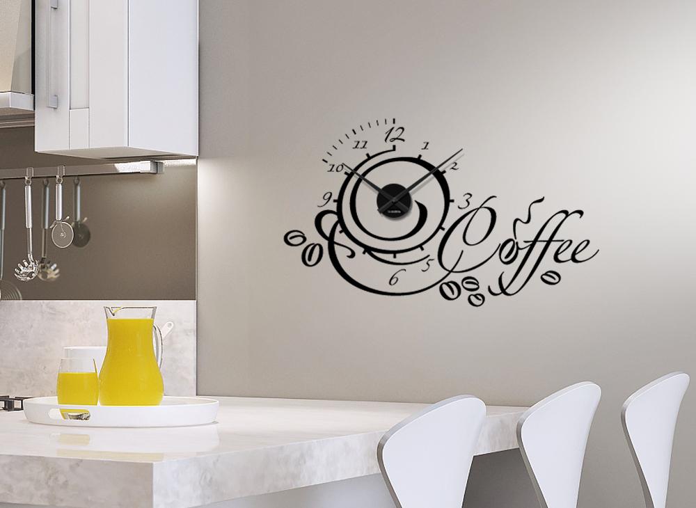 Wandtattoo Uhr Coffee Wanduhr Kaffee Küche Wand Aufkleber W3018 | eBay