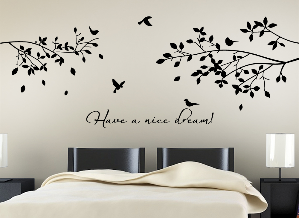 wandtattoo have a nice dream w775 schlafzimmer kinderzimmer blumen ranke sticker ebay. Black Bedroom Furniture Sets. Home Design Ideas