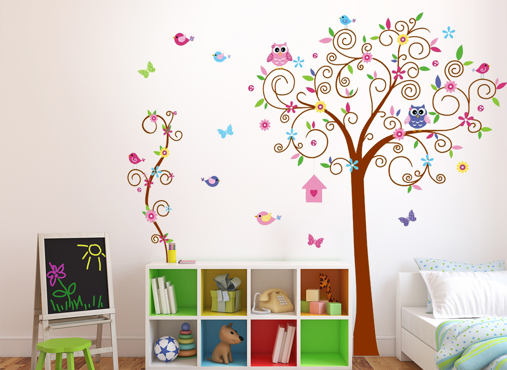 wandtattoo eule baum wandsticker aufkleber kinderzimmer blume cartoon deko w1118 ebay. Black Bedroom Furniture Sets. Home Design Ideas