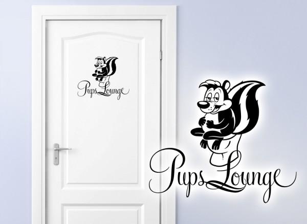 Wandtattoo Türaufkleber WC Stinktier Pups Lounge W878