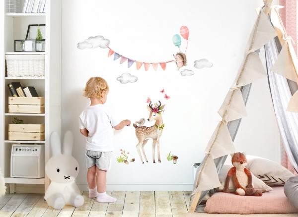 Little Deco Wandtattoo Reh und Igel mit Luftballons DL466