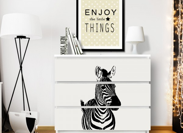 wandtattoo zebra passend f r ikea hemnes und malm kommode w5238 m belaufkleber kinderzimmer. Black Bedroom Furniture Sets. Home Design Ideas