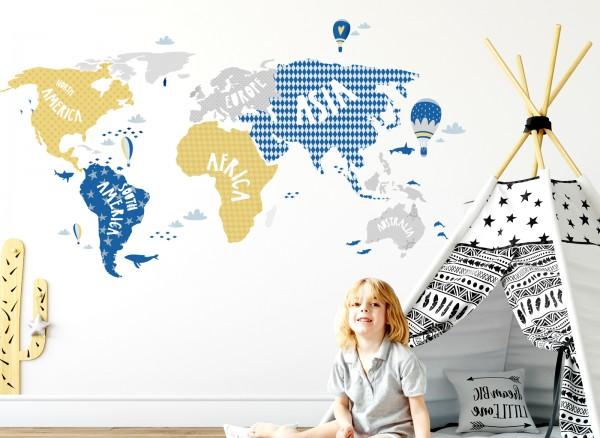 Wandtattoo Weltkarte mit Tieren grau blau gelb DL129 | Mädchen ...