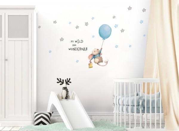 Little Deco Wandtattoo Sei wild & Maus mit Luftballon DL317