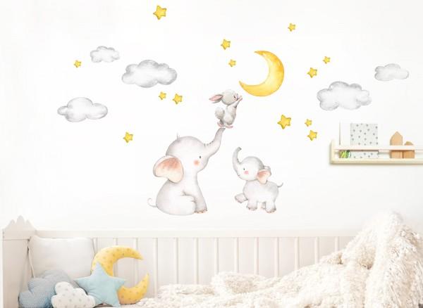 Little Deco Wandtattoo Elefant & Hase mit Mond und Sternen DL463