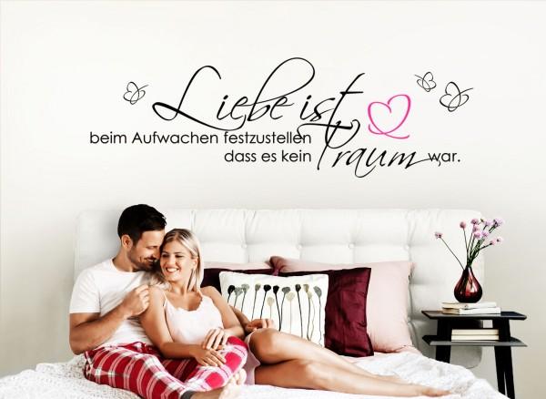 """Wandtattoo Zitat """"Liebe ist..."""" mit Schmetterling + Herz W800"""
