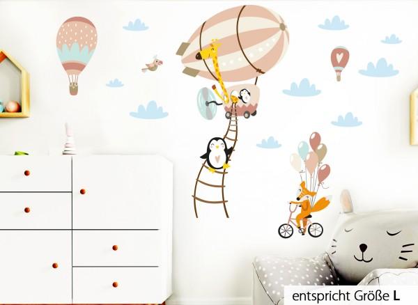 Little Deco Wandtattoo Tiere im Zeppelin Fuchs auf Fahrrad Lachs Türkis Rosa DL226