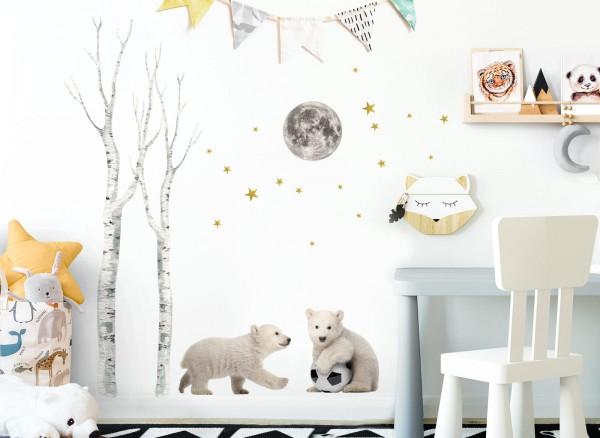 Little Deco Wandtattoo Eisbären mit Fußball & Mond DL663
