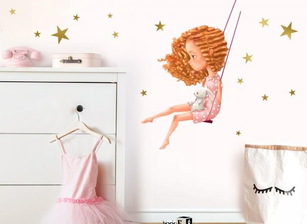 Little Deco Wandtattoo Mädchen mit Hase auf Schaukel DL218