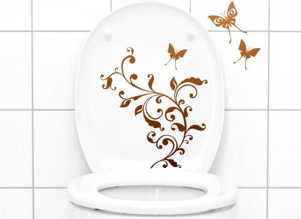 Wandtattoo WC Aufkleber Blumenranke Schmetterlinge 1085W