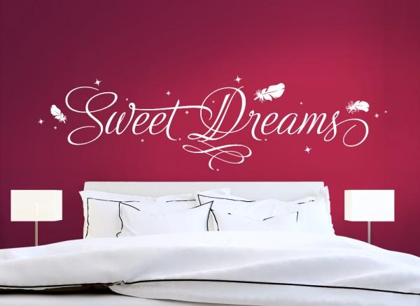 Wandtattoo Sweet Dreams mit Sternen & Federn W3016