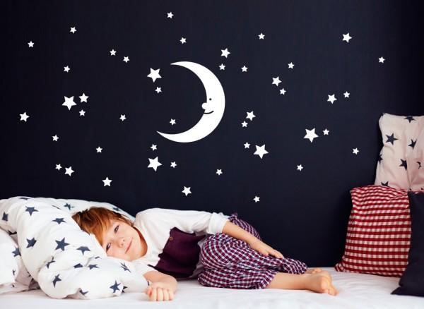 Wandtattoo Mond und Sterne W5524