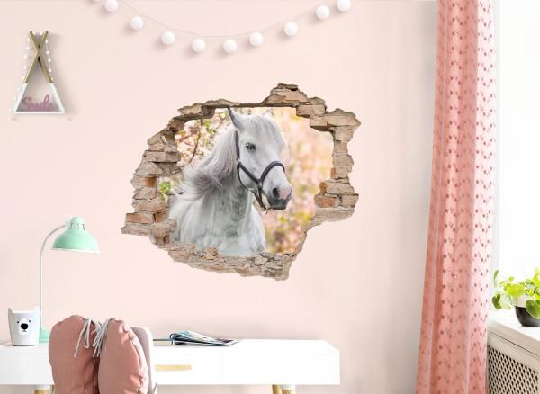 Little Deco Wandtattoo 3D Loch mit weißem Pferd DL629