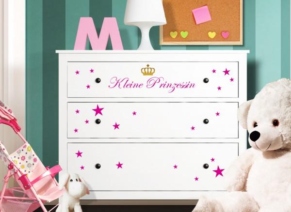 Wandtattoo Kleine Prinzessin mit Sternen + Krone passend für IKEA HEMNES Kommode W5223