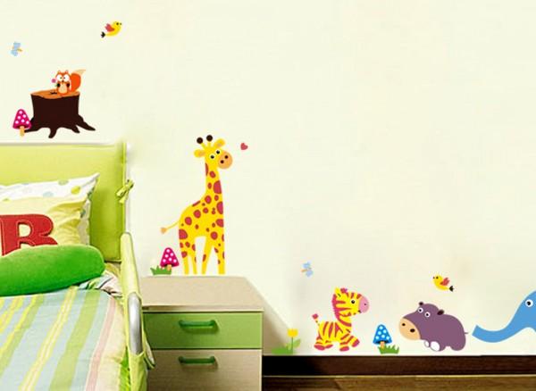 Wandtattoo Baumstumpf mit Elefant, Nilpferd und Giraffe W5320