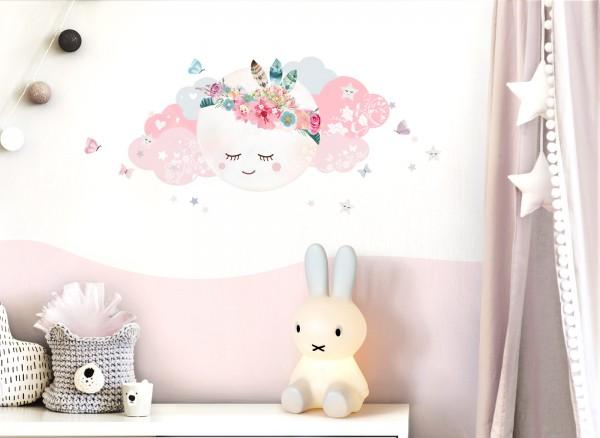 Little Deco Wandtattoo Wolken & Mond Weiß / Rosa DL267