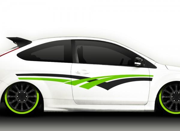 Autoaufkleber 2er Set Racingstyle 2-farbig X7101