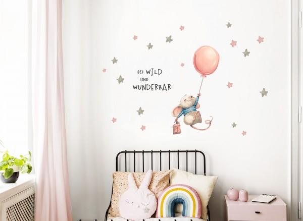 Little Deco Wandtattoo Sei wild & Maus mit Luftballon DL314