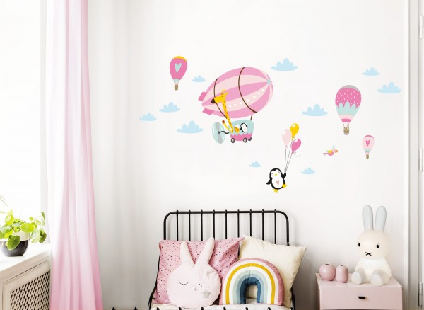 Little Deco Wandtattoo Giraffe im Zeppelin Pinguin mit Luftballons Rosa Pink DL365
