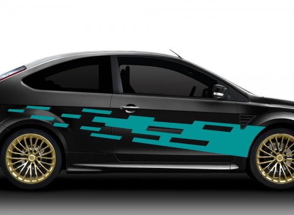 2er Set Autoaufkleber Racingstyle X7160