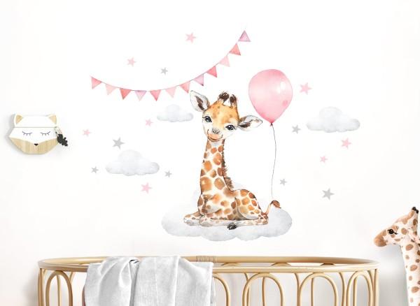 Little Deco Wandtattoo Giraffe mit Luftballon rosa & Sterne DL681