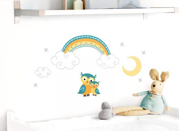 Little Deco Wandtattoo Eulen mit Mond & Regenbogen DL498