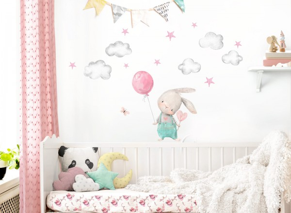 Little Deco Wandtattoo Hase mit Luftballon DL603