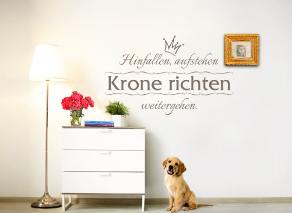 wandtattoo spruch hinfallen aufstehen krone richten. Black Bedroom Furniture Sets. Home Design Ideas