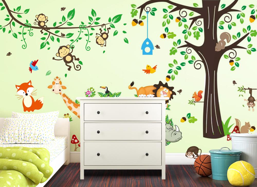 wandtattoo xxl premium set baum affen l we w5363 b ume. Black Bedroom Furniture Sets. Home Design Ideas