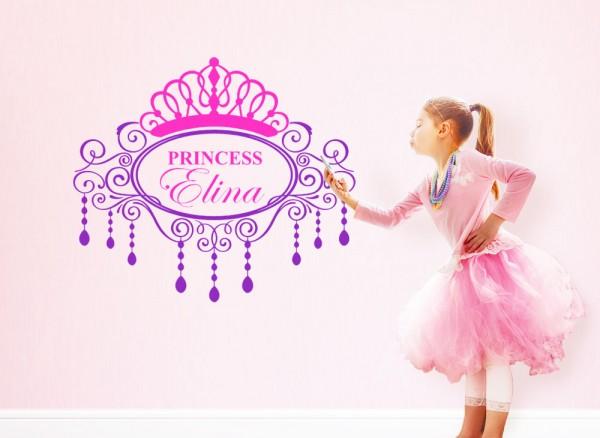 Wandtattoo Princess + Wunschname und Krone W5107