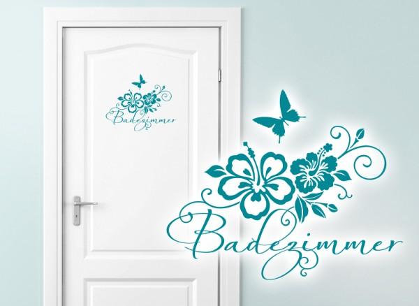"Wandtattoo WC Aufkleber ""Badezimmer"" + Hibiskus W764"