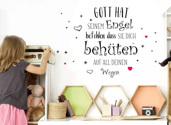 """Wandtattoo 2-farbig Zitat """"Gott hat seinen Engel befohlen..."""" mit Sternen und Herzen in pink W3437"""