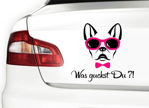 Autoaufkleber Was guckst Du? Hund mit Brille 2-farbig X7069