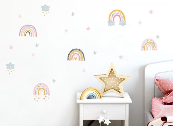 Little Deco Wandtattoo Regenbögen mit Wolken & Sternen DL482