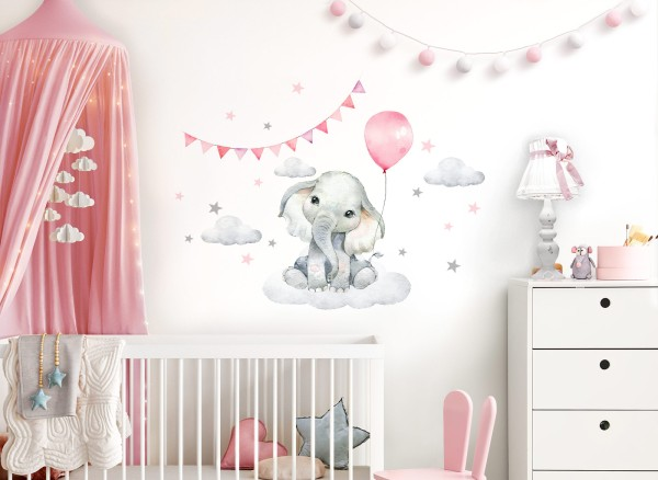 Little Deco Wandtattoo Elefant mit Luftballon rosa & Sterne DL682