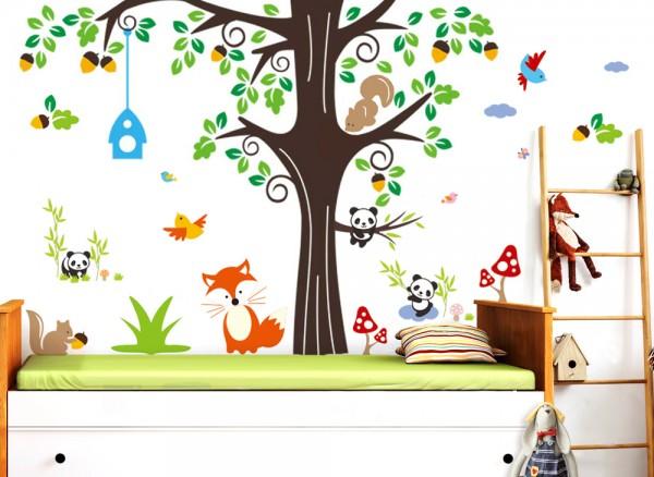 Wandtattoo XXL Premium Set Baum Fuchs Pandabären W5369