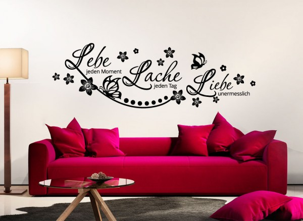 wandtattoo zitat lebe lache liebe. Black Bedroom Furniture Sets. Home Design Ideas