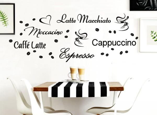 Wandtattoo Latte Macchiato Moccacino Cappuccino Espresso Caffe Latte W3047