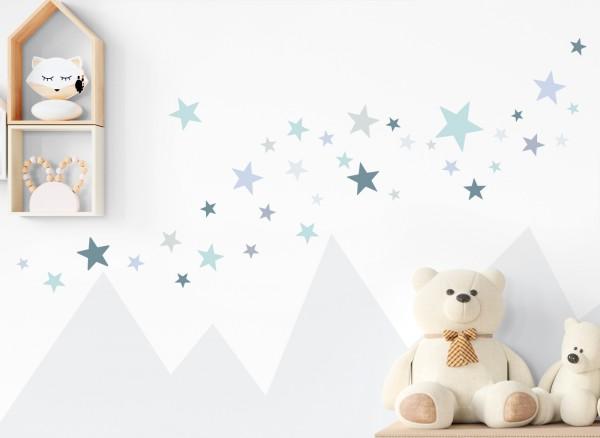 Little Deco Wandtattoo 60 Sterne mint blau DL395