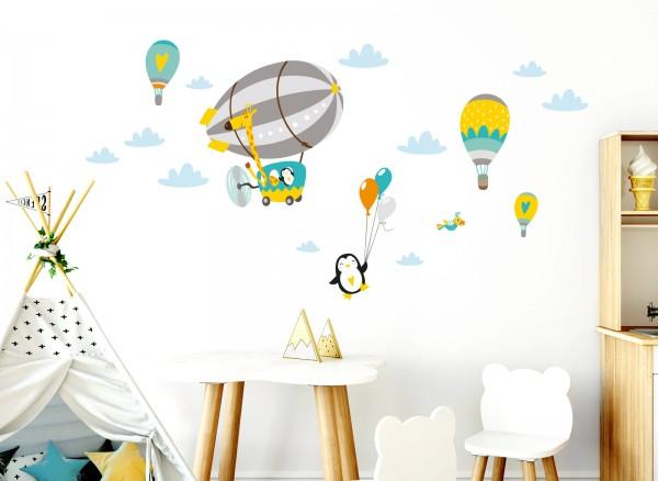 Little Deco Wandtattoo Giraffe im Zeppelin Pinguin mit Luftballons Grau Gelb Grün DL364