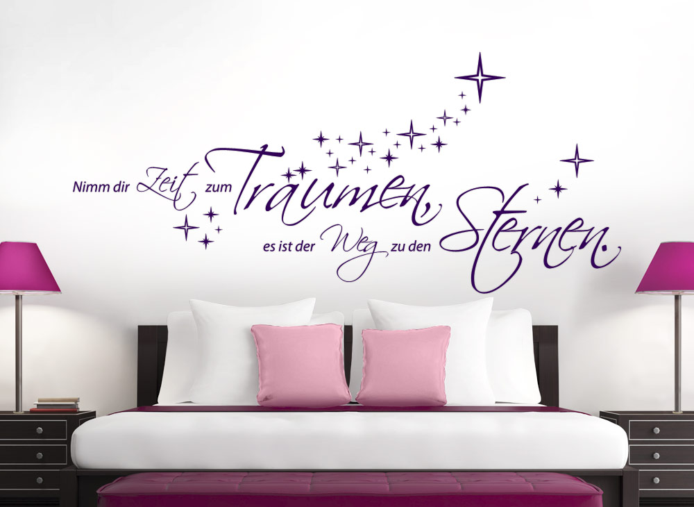 wandtattoo spruch nimm dir zeit zum tr umen sterne. Black Bedroom Furniture Sets. Home Design Ideas