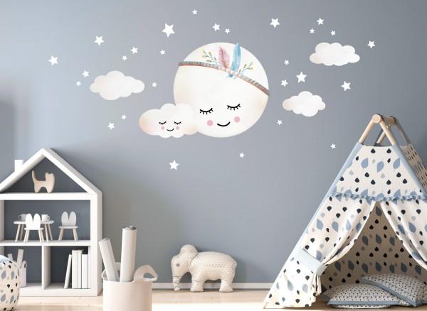 Little Deco Wandtattoo Wolken Mond Sterne Dl263 Madchen