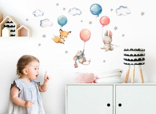 Little Deco Wandtattoo Fuchs Maus und Hase mit Luftballon DL312
