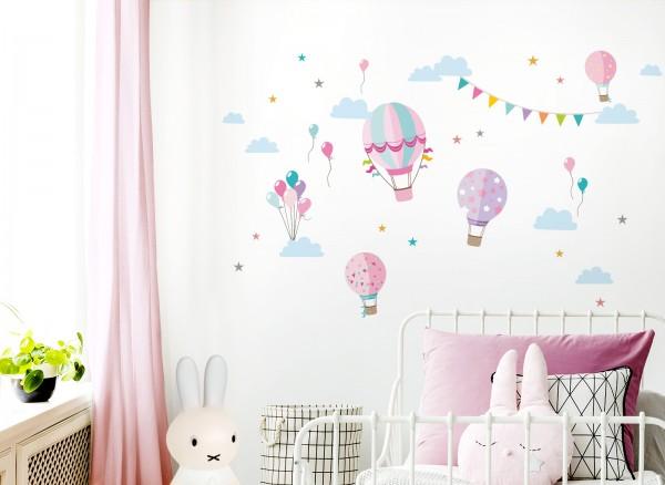 Little Deco Wandtattoo Heißluftballons Rosa Pink DL373