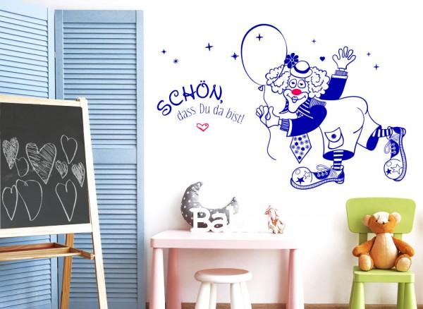 """Wandtattoo 2-farbig Spruch """"Schon, dass du..."""" + Clown mit Luftballon + Nase und Herz in pink W5492"""