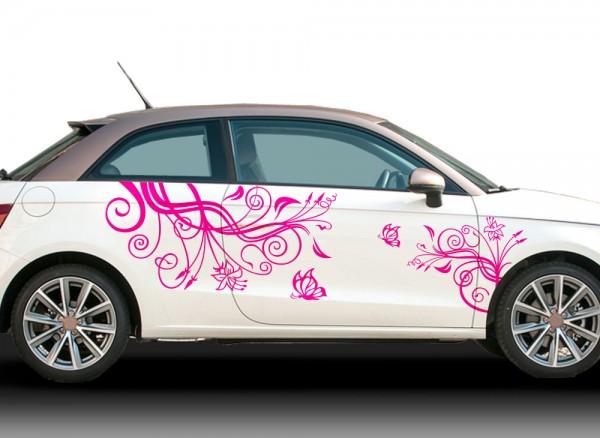 2er Set Autoaufkleber Blumenranke Schmetterlinge X7144