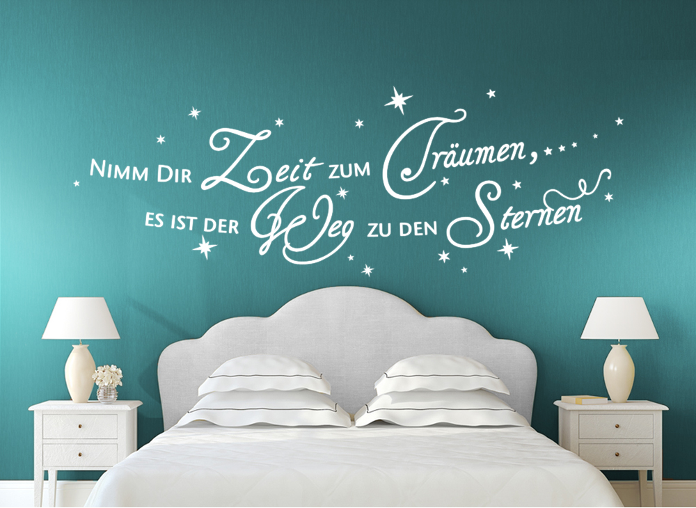 wandtattoo spruch nimm dir zeit zum tr umen 20. Black Bedroom Furniture Sets. Home Design Ideas