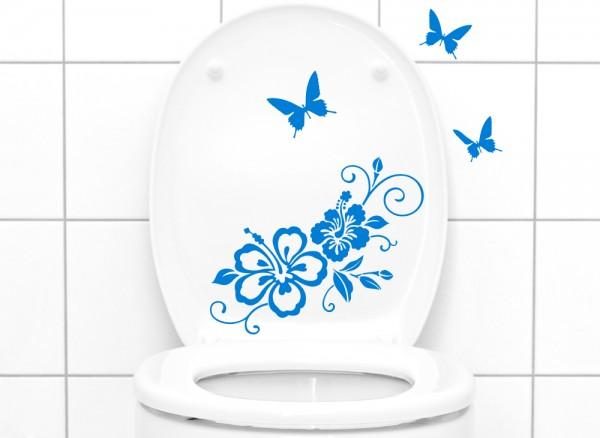 Wandtattoo WC Aufkleber Hibiskusranke mit Schmetterlingen W3029