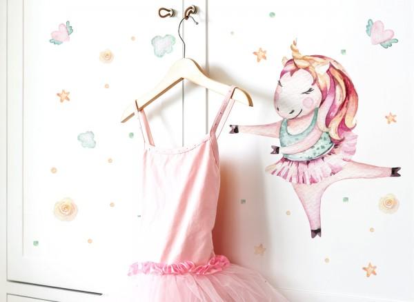 Little Deco Wandtattoo Einhornballerina & Herz mit Flügeln DL139